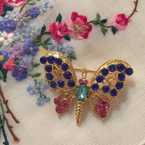 Vintage Jewelry - Vintage gold-tone butterfly with pink and blue